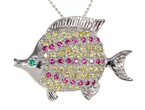 Sterling Silver Colorful CZ Tropical Fish Pendant 16 Inch Necklace AND Pin