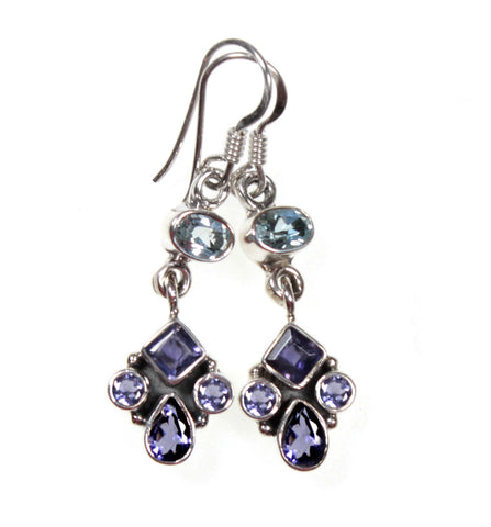 Iolite and Blue Topaz Sterling Silver Dangle Allure Earrings