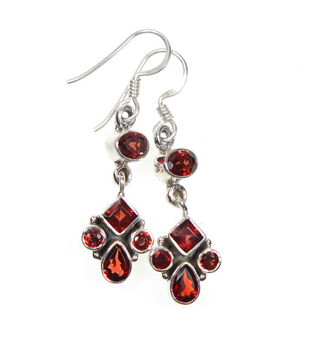 Sale -  Garnet Gemstone Sterling Silver Dangle Allure Earrings