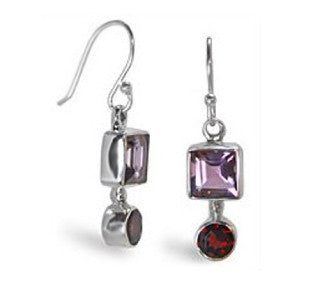 Amethyst and Garnet Sterling Silver Earrings