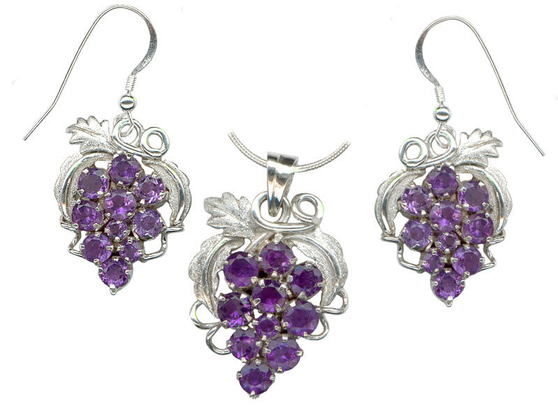 sterling silver amethyst grape cluster earrings and pendant