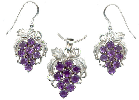 Amethyst Grape Cluster Sterling Silver Earrings and Pendant