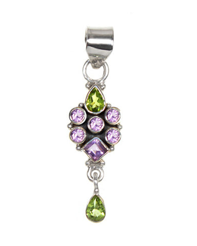 Amethyst and Peridot Gemstone Sterling Silver Allure Pendant
