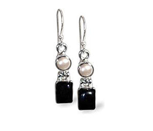 Black Onyx and Pearl Sterling Silver Dangle Earrings