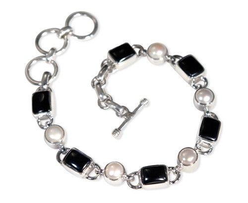 Black Onyx and Freshwater Pearl Sterling Silver Bracelet