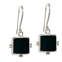 Square Black Onyx Handcrafted Sterling Silver Earrings