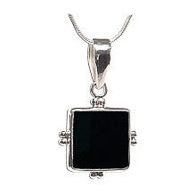 Square Black Onyx Handcrafted Sterling Silver Pendant