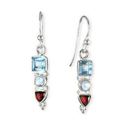 Sterling Silver Blue Topaz, Moonstone, Garnet Gemstone Earrings