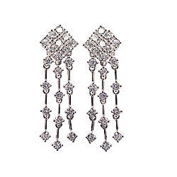 Chandelier Cubic Zirconia Sterling Silver Post Earrings