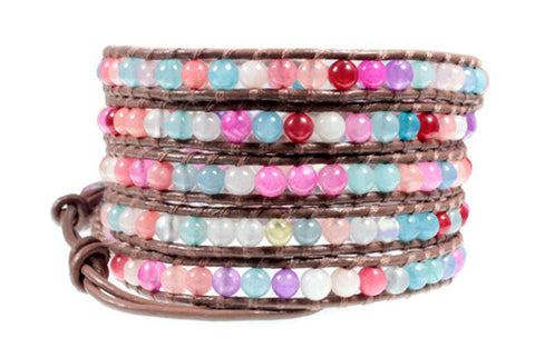 Colorful Agate Bead Handcrafted Leather 5x Wrap Bracelet
