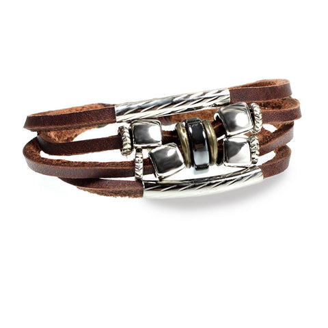 Unique Cube Design Handcrafted Leather Bracelet Fits Men, Women, Teens, Boys and Girls