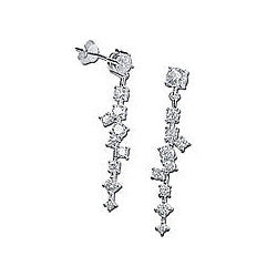 Cubic Zirconia Long Dangle Post Earrings 925 Sterling Silver
