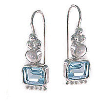 Emerald Cut Blue Topaz Sterling Silver Earrings