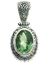 11 Ct. Green Amethyst Ornate Sterling Silver Pendant Necklace