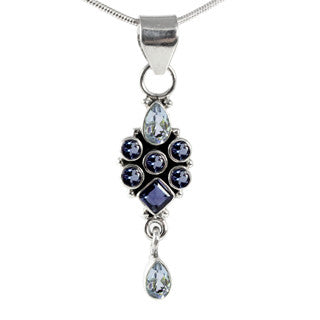 Iolite and Sky Blue Topaz Gemstone Sterling Silver Allure Pendant