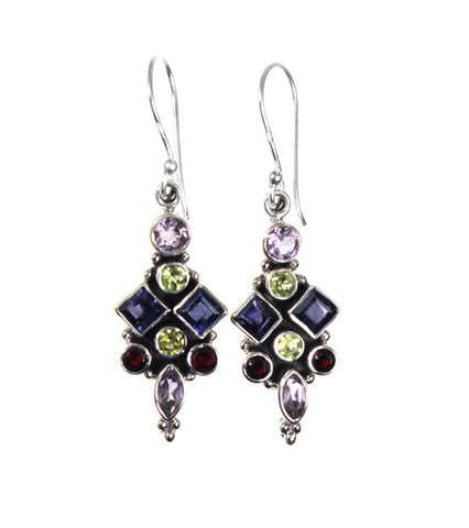 Sterling Silver Iolite, Garnet, Peridot, Amethyst Gemstone Earrings