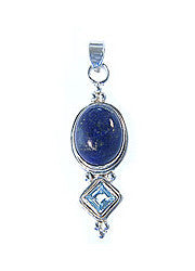 sterling silver lapis lazuli and blue topaz pendant