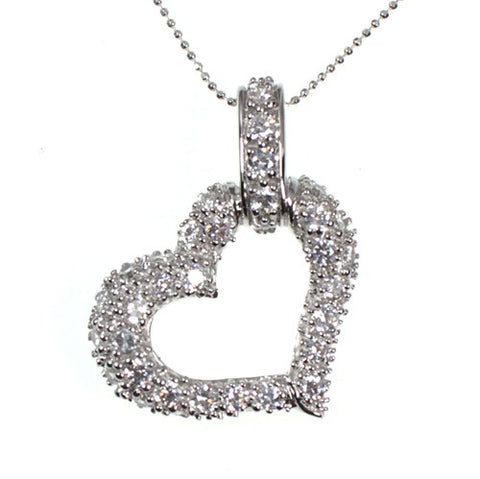 Stunning Cubic Zirconia Heart Sterling Silver Pendant Necklace