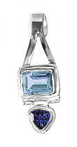 blue topaz and iolite sterling silver pendant