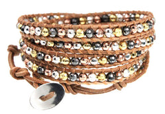 Tan Leather 5x Wrap Bracelet with Silvertone, Goldtone, Copper-tone and Gunmetal Faceted Metal Beads