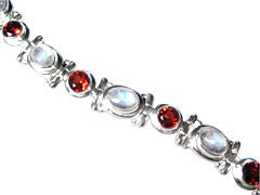 Round Garnet and Oval Moonstone Sterling Silver Bracelet