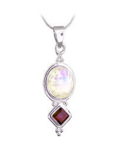 Moonstone and Garnet Sterling Silver Pendant