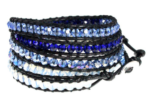 Ocean Blue Crystal Bead Five Wrap Leather Bracelet