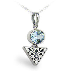 Sky Blue Topaz Ornate Floral Design Sterling Silver Pendant