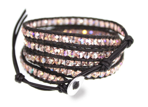 Sale!  Gorgeous Sparkly Peachy Pink Crystal Bead Dark Brown Leather 5x Wrap Bracelet