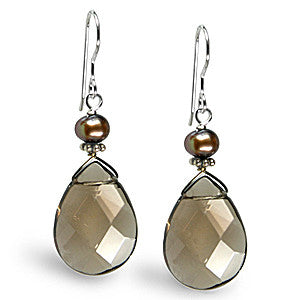 Pear Cut Smoky Topaz and Chocolate Pearl Sterling Silver Earrings
