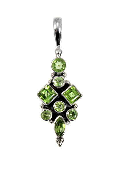 Peridot Gemstone Cluster Sterling Silver Pendant