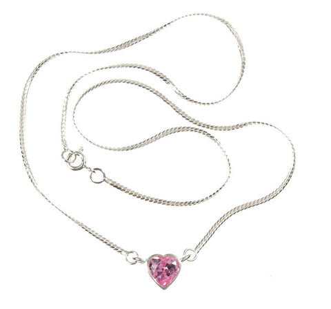 Pink, Purple or White Crystal CZ Heart Sterling Silver 16 inch Necklace