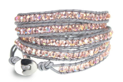 Pink Crystal Bead on Silver Leather 5x Wrap Bracelet