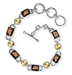 Smoky Topaz and Citrine Gemstone Sterling Silver Bracelet