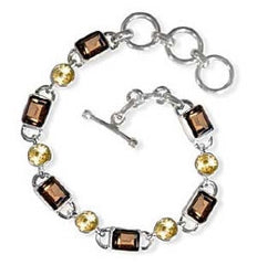Smoky Topaz and Citrine Sterling Silver Bracelet
