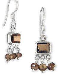 Emerald Cut Smoky Topaz Gemstone Sterling Silver Earrings