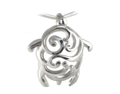 Artistic Swirl Turtle Sterling Silver Pendant