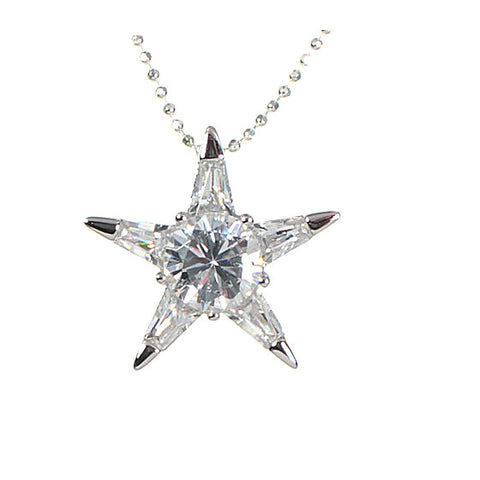 Cubic Zirconia Star Pendant Necklace 925 Sterling Silver