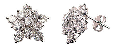 Sterling Silver Starburst Cubic Zirconia Earrings