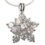 Sparkling Cubic Zirconia Starburst Sterling Silver Pendant Necklace