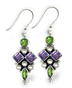 Sterling Silver Suffragette Style Earrings with Amethyst, Peridot, Pearls
