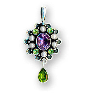 Suffragette Style Amethyst, Peridot, Pearls Large Sterling Silver Designer Pendant
