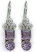 Sterling Silver Handcrafted Swirl 6 Ct Gemstone Earrings in Amethyst, Garnet, Citrine or Peridot