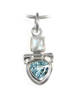 Sky Blue Topaz and Moonstone Sterling Silver Petite Pendant Necklace