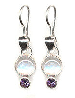 Zoe Moonstone Dangle Earrings in Amethyst or Garnet
