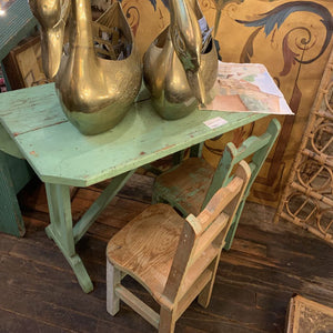Antique green painted child's chair and table