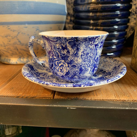 Vintage Laura Ashley Blue & White Chintzware cup & saucer