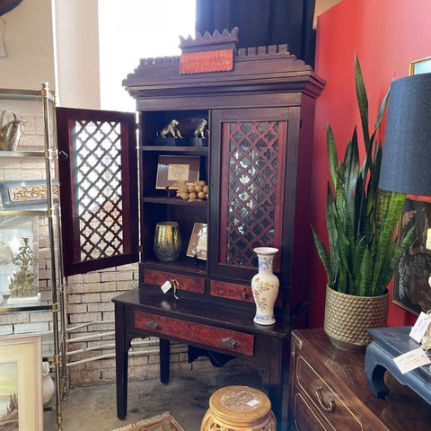 Antique 1800's Painted Grain Cabinet 86 in high x 41 1/2 in wide orig. hardware 2 pc. Cabinet (IN STORE PICKUP ONLY)