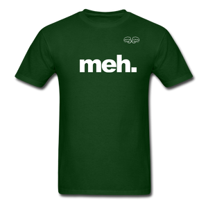 meh. White Text - forest green