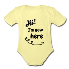Load image into Gallery viewer, Hi I'm New Here Baby Bodysuit - washed yellow